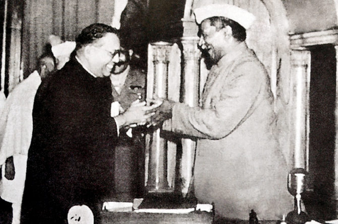Babasaheb Ambedkar, presenting the final draft of the Indian constitution to Constituent Assembly president Rajendra Prasad on 25 November 1949